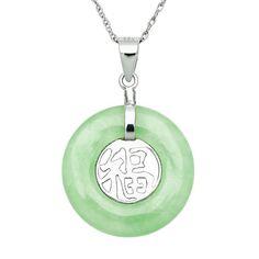 "Sterling Silver Jade Luck Pendant, Women's, Size: 18"", Green"