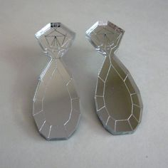 Mirror Diamond Teardrop Statement Earrings - Laser Cut Acrylic Perspex. $22.00, via Etsy.