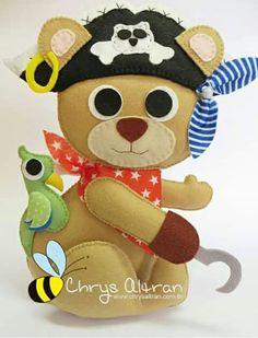 Ursinho urso pirata feltro