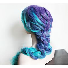 Blue Wig Long Blue Wig Curly Gradient Purple and Blue Scene Wig... (535 DKK) ❤ liked on Polyvore featuring beauty products, haircare, hair styling tools, hair, wigs, bath & beauty, black, hair care, styling iron and straight iron