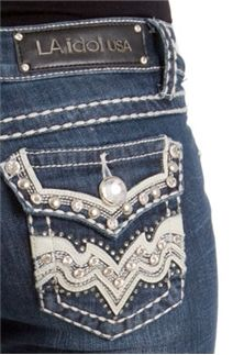 LA Idol Jeans White Leather Wave Stud Bootcut 2131LP