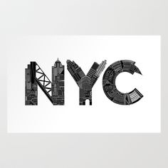 NYC  Art Print by Robert Farkas - $19.00 society6.com. Maybe this artist could create similar prints for each location, using iconic elements for each?