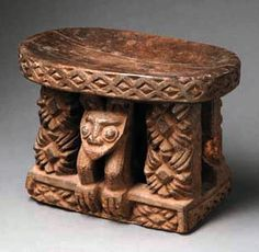 """Africa   Stool from the Bamileke people of the Cameroon Grassfields   Wood, with brown patina   The leopard embodies certain attributes like quickness, survivability and aggressiveness which were transfered to the king. So the leopard became the most important royal symbol, like an """"alter ego"""" of the king."""