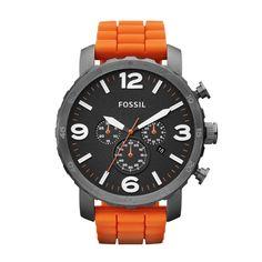 FOSSIL® Watch Styles Sport Watches:Watch Styles Nate Silicone Watch – Orange JR1428