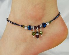 Anklet Ankle Bracelet Metallic Blue Purple by ABeadApartJewelry