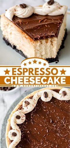Lovers of coffee and chocolate are in for a special treat! Topped with chocolate ganache, a cream cheese frosting swirl, chocolate shavings, and espresso beans, this Espresso Cheesecake recipe with an… Blueberry Desserts, Lemon Desserts, Healthy Dessert Recipes, Sweets Recipes, Simple Recipes, Espresso Cheesecake Recipe, Cheesecake Recipes, Fancy Desserts, Sweet Desserts