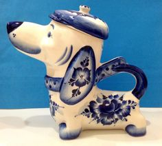 Dachshund Porcelain Teapot Hand Painted.