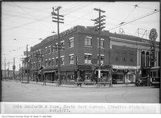 Danforth & Pape northeast corner, Palace Theatre, London Life Ins. Toronto Ontario Canada, London Life, Old City, Vintage Photos, Palace, Past, Theatre, Old Things, Corner