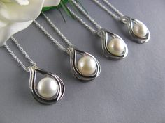 Pearl Necklace, Sterling Silver, Wedding Jewelry- Bridesmaid necklace- Bridesmaid Gift-Wedding Jewelry gift,Bridal Party Favor. $111.20, via Etsy.