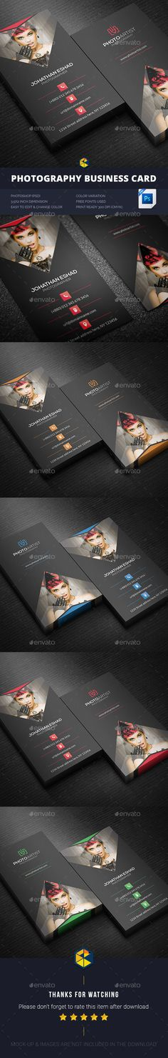 Photography Business Card Design Template - Business Cards Print Template PSD. Download here: https://graphicriver.net/item/photography-business-card/17721450?ref=yinkira