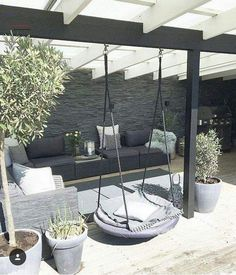 37 great backyard ideas for patios, porches and decks 25 The Key to Successful Garden Ideas for Terraces - The concept is great to select at first glance. Exploring the backyard ideas in this art. Terrace Design, Villa Design, Patio Design, Pergola Designs, Exterior Design, Outdoor Rooms, Outdoor Living, Outdoor Decor, Outdoor Dog Area