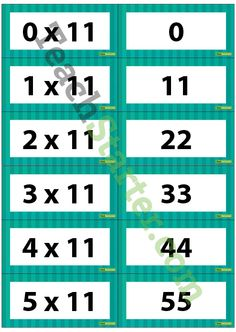 Multiplication Flash Cards - 11 Times Table | Teach Starter - Teaching Resources