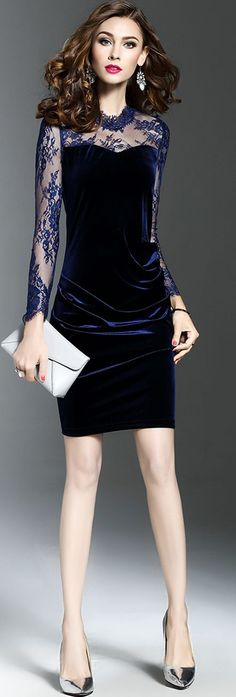 Navy Blue Lace Gauze Sheath Dress