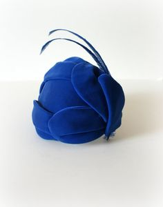 1950s Vintage Hat Blue Velvet Petaled Feather by Sweetbeefinds, $52.00