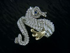 SS & 14KY Seahorse Wrap Ring with Sapphire Eye by Steven Douglas Designs