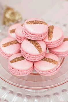 Pastel Pink macarons with a dash of gold glitter, for blush pink wedding