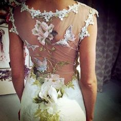 Back Details Claire Pettibone 'Papillion' wedding dress Still Life Collection 2014 fashion show