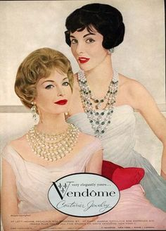 Jewelry Styles and History - Vendome jewelry necklaces: The were an era of elegance and femininity. 1950s Jewelry, Jewelry Ads, Vintage Costume Jewelry, Vintage Costumes, Modern Jewelry, Jewelry Trends, Vintage Outfits, Vintage Jewelry, Fashion Jewelry