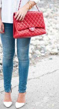 motorcycle stitch denim and chanel