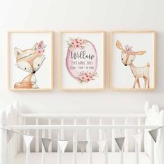 GIRLS WOODLAND NURSERY PRINT SET - BIRTH PRINT. FOX