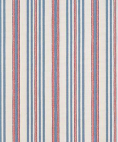 Bennison Malabar stripe in red blue on oyster