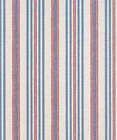 Bennison Malabar stripe in red blue on oyster