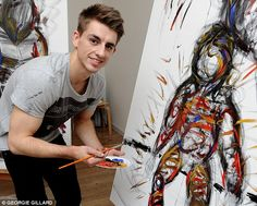 Road to Rio 2016 - Gymnast Max Whitlock poses in front of his masterpiece after an art lesson by artist Rachel Gadsen at London's Whitechapel gallery, December 2014 -alongside fellow athletes Adam Gemili, Sally Brown & Chris Mears