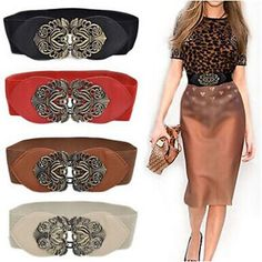 Cheap fashion wide belt, Buy Quality wide belt directly from China wide fashion belts Suppliers: New Fashion Women Fashion Solid Vintage Wide Elastic Stretch Buckle Waist Belt Waistband Dress Adornment Bind Wide Belts Fashion Belts, Skirt Fashion, Vintage Mode, Vintage Ladies, Retro Vintage, Wide Belts For Women, Fancy, Womens Fashion For Work, Fashion Women