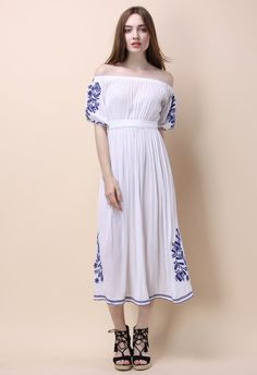 boho nymph shoulder maxi dress white