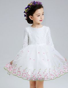 A-line Short/Mini Flower Girl Dress - Lace / Organza 3/4 Length Sleeve 4577214 2016 – $39.99