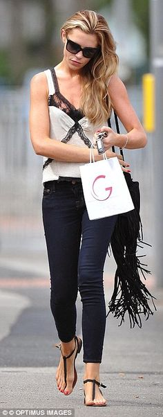 indigo skintight jeans, lingerie-inspired vest -op, tassel handbag and over-sized sunglasses. Celebrity Dresses, Celebrity Style, Britain's Next Top Model, The Girlfriends, Fit Board Workouts, Style Snaps, Old Models, Skin Tight, Runway Models