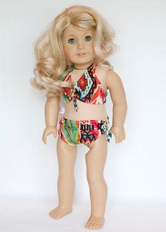 American Girl doll scrunchy two piece swimsuit - multicolored bikini by EverydayDollwear on Etsy
