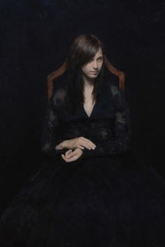 Michael Klein - The Bride. oil portrait. Her skin just glows against all that black.
