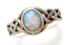 Opal Sterling Silver Ring with Celtic Design