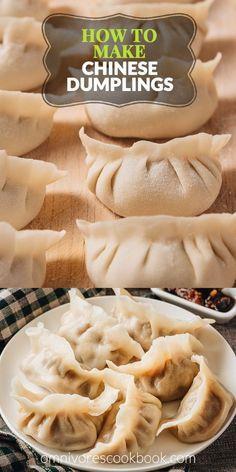 How To Make Dumplings, Homemade Dumplings, Chicken And Dumplings, Chinese Dumplings Recipe From Scratch, Chinese Steamed Dumplings, Making Dumplings, Dumpling Dough, Dumpling Recipe, Potsticker Dough Recipe