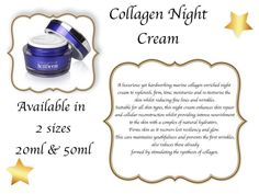 A luxurious yet hardworking marine collagen enriched night cream to replenish, firm, tone, moisturize and re-texturise the skin whilst reducing fine lines and wrinkles