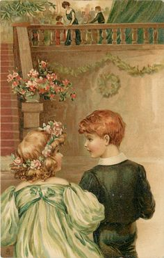 boy and girl walk away to stairs looking at each other, girls right arm in boys left, people above