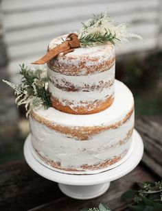 15 Trendy Winter Wedding Cakes: a semi naked winter wedding cake topper with herbs and leather for a rustic celebration Chic Wedding, Rustic Wedding, Our Wedding, Wedding Dinner, Wedding Ideas, Floral Wedding, Wedding Details, Wedding Decor, Wedding Cake Toppers