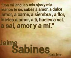 ... Hueles a sal, a sal, amor y a mí. Jaime Sabines
