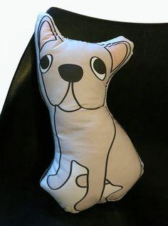 Fawn French Bulldog // Dog Shaped Pillow by karaburkeillustrates