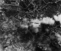 WWII From Above; dramatic photo of bombs falling on the industrial city of Terni, Italy, in 1943.