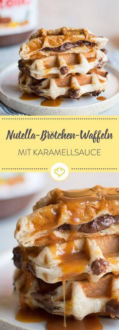 Wie wäre es, wenn du dein Nutellabrötchen einfach mal in's heiße Waffeleisen packst und mit Karamellsauce übergießt? Irre? Klar - irre lecker!