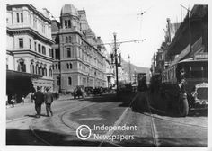 Tramways, buses and motorcars in Adderley Street Nordic Walking, Cape Town, South Africa, Street View, History, Buses, 1920s, Photographs, African