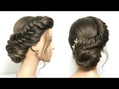 Easy Updo Tutorial For Medium Long Hair Braided Bun Hairstyles, Bun Hairstyles For Long Hair, Short Hair Updo, Elegant Hairstyles, Braided Buns, Curly Haircuts, Simple Hairstyle For Party, Party Hairstyle, Hair Styles