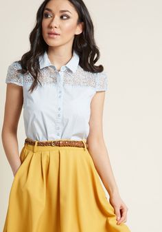 Incorporate Optimism Button-Up Top Modest Summer Outfits, Modest Dresses, Summer Clothes, Zooey Deschanel, Taylor Swift, Teaching Outfits, Teaching Clothes, Meeting Outfit, Light Blue Blouse