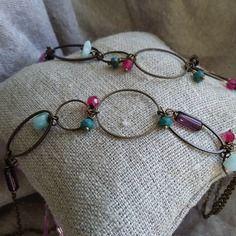 Sautoir kioma - double rangs, chaine bronze, perles de verres et semi-précieuses, rose, violet, turquoise, cercles