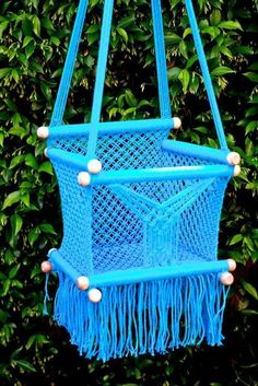 Turquoise hand crocheted baby chair/swing ....i could figure this out I bet