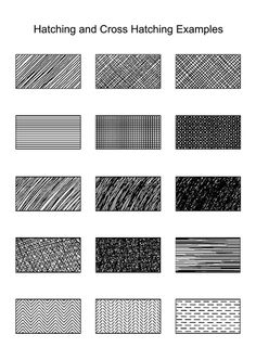 Hatch mark examples for shading sketches.