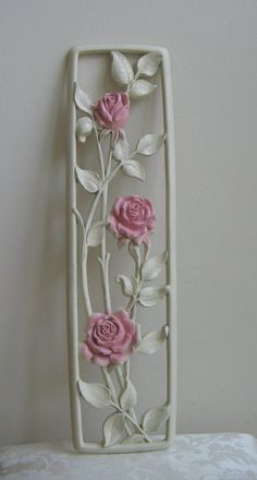 Mid Century Roses Wall Art Plaque Pink Ivory by Dart Industries, Vintage Shabby Cottage Floral Flowe Clay Wall Art, 3d Wall Art, Clay Art, Clay Flowers, Floral Flowers, Bottle Art, Bottle Crafts, Diy Arts And Crafts, Creative Crafts
