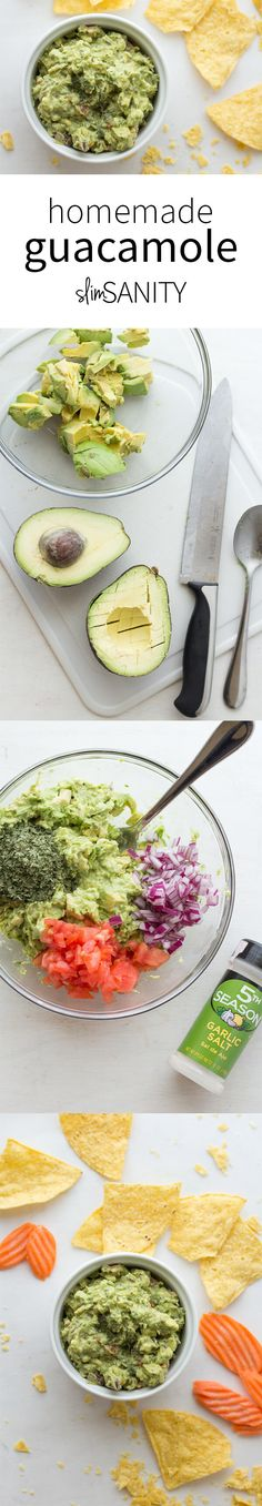 Homemade guacamole made with ripe avocados, Roma tomato, red onion, cilantro and garlic salt. This heart-healthy appetizer is best served with tasty homemade tortilla chips! | slimsanity.com